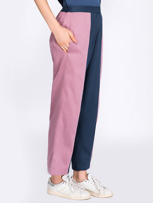 Navy Blue-Mauve Organic Cotton Pants