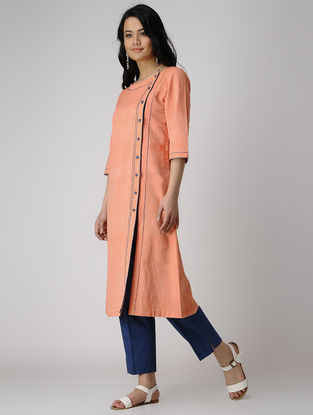 Orange Khadi Cotton Kurta