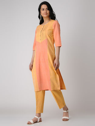 Yellow-Orange Pintuck Khadi Cotton Kurta