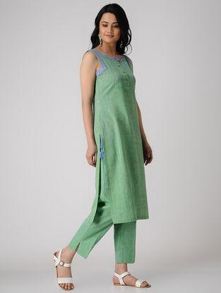 Green Khadi Cotton Kurta with Tassels