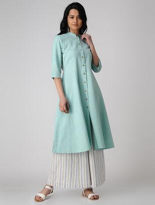 Turquoise Button-down Khadi Cotton Kurta