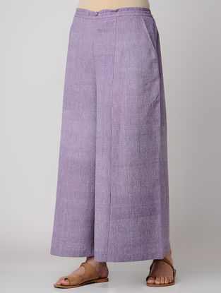 Purple Elasticated Waist Khadi Cotton Palazzos