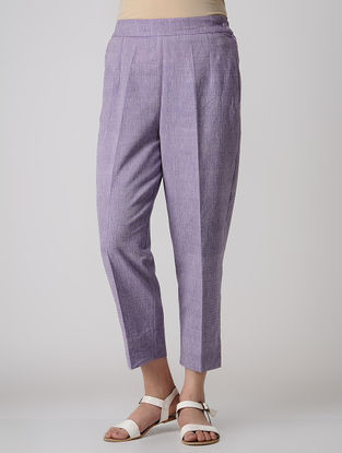 Purple Elasticated Waist Khadi Cotton Pants