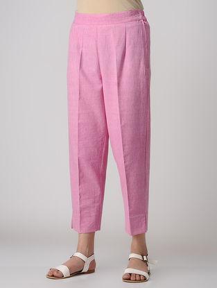 Pink Elasticated Waist Khadi Cotton Pants