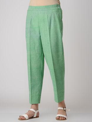 Green Elasticated Waist Khadi Cotton Pants