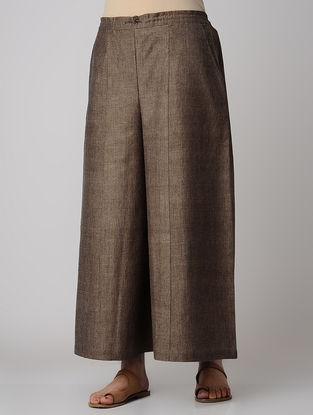 Brown Elasticated Waist Khadi Cotton Palazzos