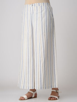Blue-White Striped Elasticated Waist Khadi Cotton Palazzos