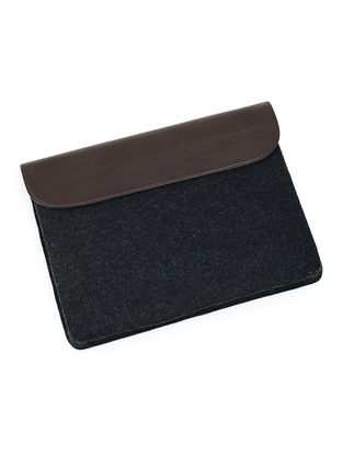 Black-Brown Felt and Leather Laptop Sleeve