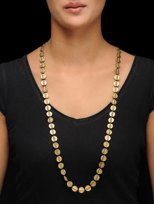 Classic Gold Tone Handcrafted Brass Necklace