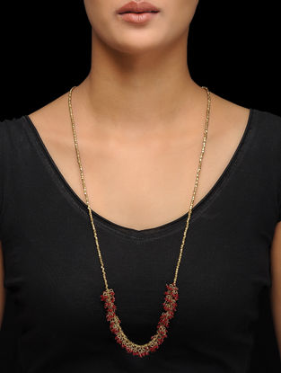 Maroon Gold Tone Handcrafted Brass Necklace