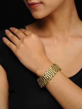 Black Gold Tone Handcrafted Brass Bracelet