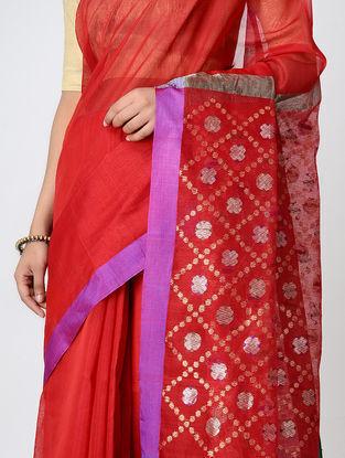 Red-Purple Chanderi Saree with Zari