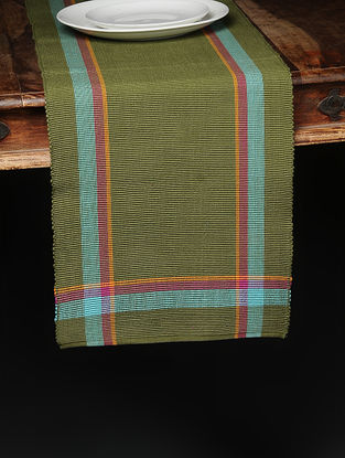 Green-Blue Hand Woven Cotton Runner (72in x 13.2in)