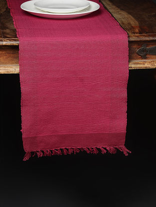 Pink Hand Woven Cotton Runner (72in x 12.6in)