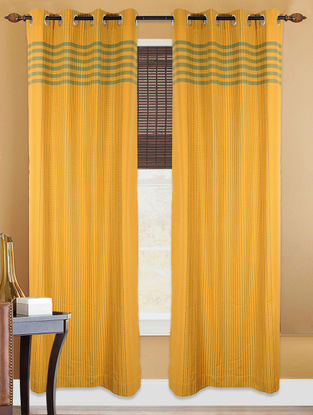 Yellow Hand Woven Cotton Curtain