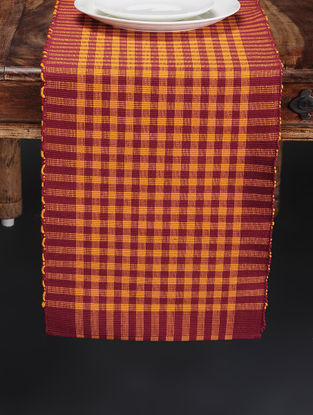 Orange Hand Woven Cotton Table Runner (66in x 13in)