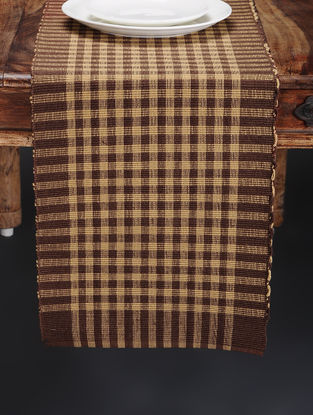 Brown Hand Woven Cotton Table Runner (76in x 13in)