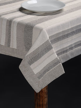 Grey Hand Woven Cotton Table Cover for 6 Seater Table (82in x 61in)