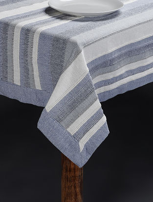 Blue Hand Woven Cotton Table Cover for 6 Seater Table (83in x 62in)