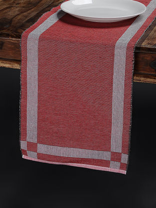 Red Hand Woven Cotton Table Runner (68in x 13in)
