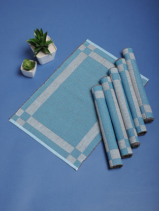 Blue Hand Woven Cotton Table Mats (Set of 6) (19.5in x 13in)