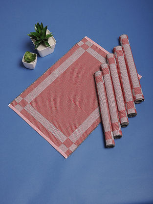 Red Hand Woven Cotton Table Mats (Set of 6) (19in x 13in)