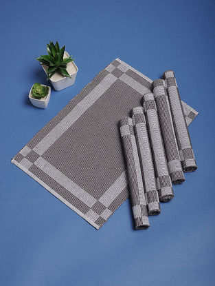 Grey Hand Woven Cotton Table Mats (Set of 6) (18.5in x 12.5in)