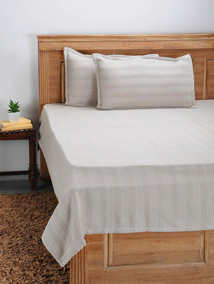 Beige Hand Woven Cotton Double Bed Cover With Pillow Covers (Set Of 3)