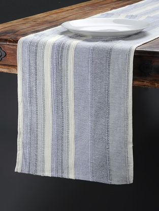 Blue Hand Woven Cotton Table Runner (74in x 14in)