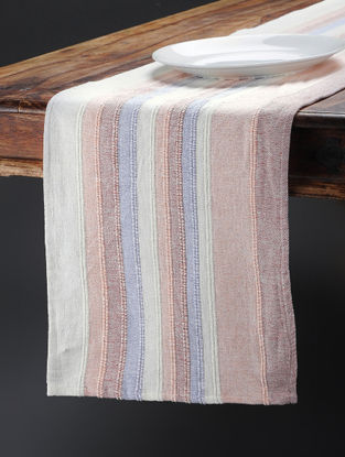 Pink-Blue Hand Woven Cotton Table Runner (74in x 13in)
