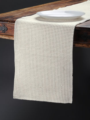 Beige Hand Woven Cotton Table Runner (74in x 13in)