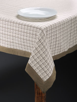 Brown Hand Woven Cotton Table Cover for 6 Seater Table (81inx 59in)