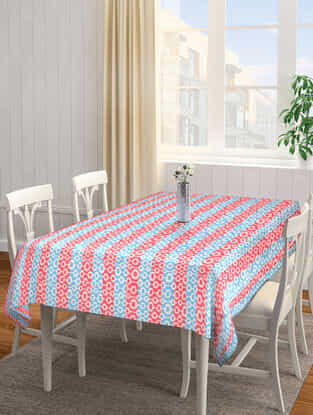 Red-Blue Jacquard Cotton 6 Seater Table Cover (88in x 60in)