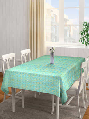 Blue Jacquard Cotton 6 Seater Table Cover (90in x 65in)