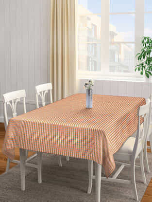 Orange-Green Cotton 6 Seater Table Cover (94in x 63in)