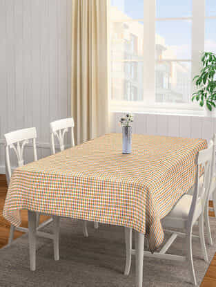 Yellow-Multicolored Cotton 6 Seater Table Cover (92in x 61in)