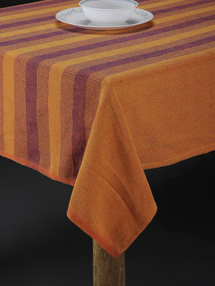 Yellow Jacquard Cotton 6 Seater Table Cover (90in x 64in)