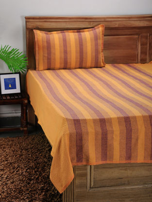 Yellow Jacquard Cotton Single Bed Cover with Pillow Cover (Set of2)