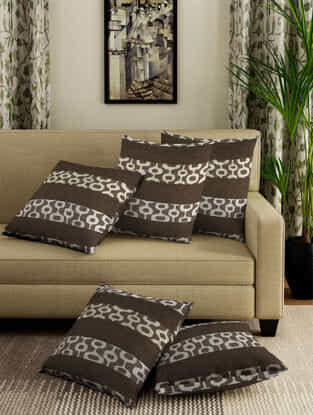 Beige-Brown Jacquard Cotton Cushion Covers (Set of 5) (15.5in x 15.5in)