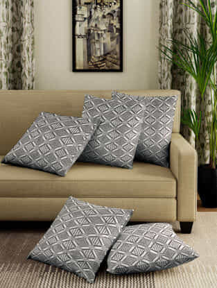 Grey Jacquard Cotton Cushion Covers (Set of 5) (15in x 16in)