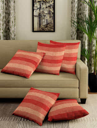 Red-Yellow Jacquard Cotton Cushion Covers (Set of 5) (15.5in x 15.5in)