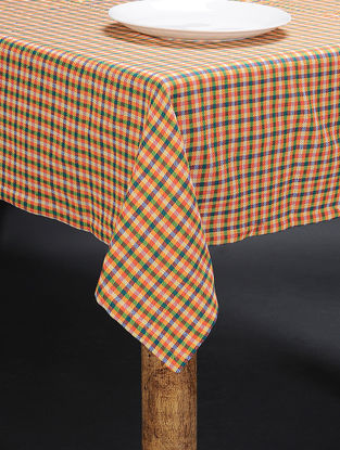 Yellow-Multicolored Cotton 4 Seater Table Cover (61in x 61in)