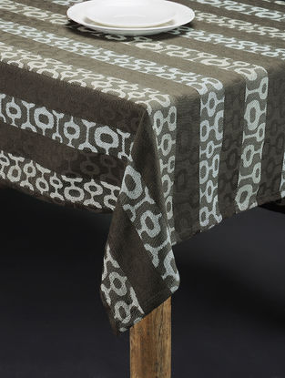 Grey-White Hand Woven Cotton Table Cover (58in x 58in)