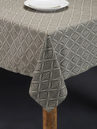 Grey Hand Woven Cotton Table Cover (58in x 58in)