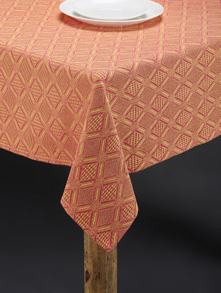 Pink-Yellow Hand Woven Cotton Table Cover (60in x 58in)