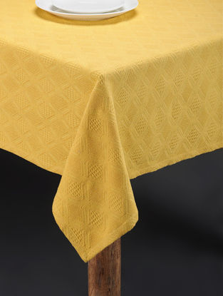 Yellow Hand Woven Cotton Table Cover (60in x 60in)