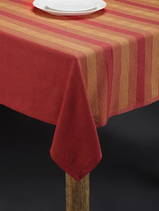 Orange-Yellow Hand Woven Cotton Table Cover