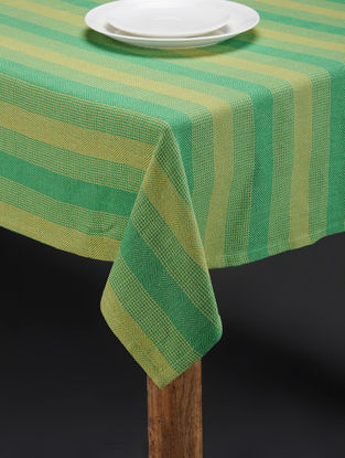 Green-Yellow Hand Woven Cotton Table Cover