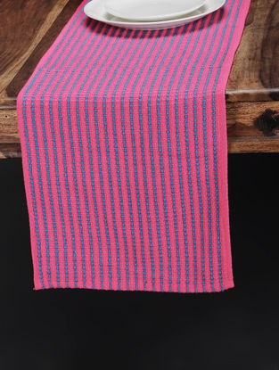 Blue-Pink Hand Woven Cotton Table Runner (72in x 13.5in)