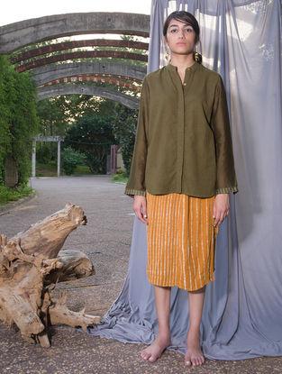 Olive Green Dabu-printed Chanderi-Cotton Shirt